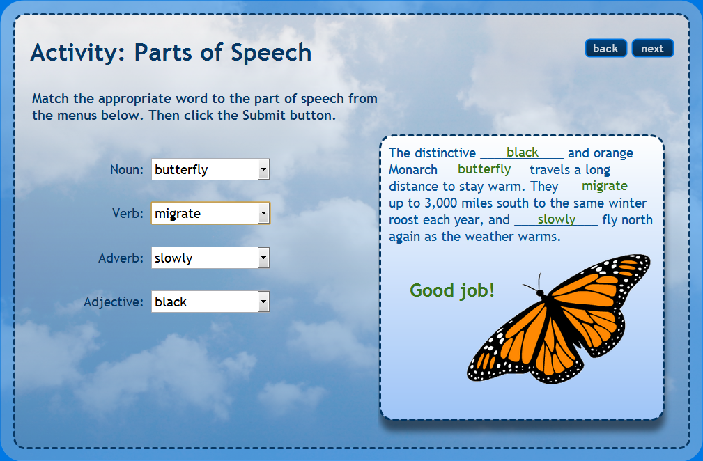 parts of speech and math Quiz theme/title: parts of speech description/instructions nouns name people, animals, places, things, or ideas verbs show action or a state of being.