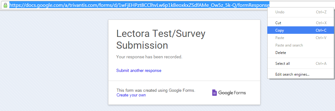 Copy the Form Response URL from the Google Form