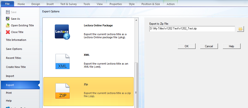 Export a Lectora title to a .zip file