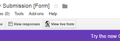Google Drive - View Live Form
