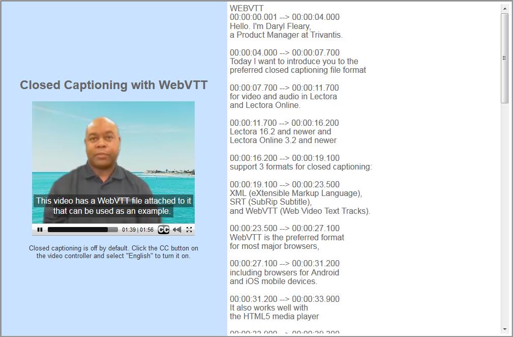 Closed Captioning with WebVTT - Trivantis Community